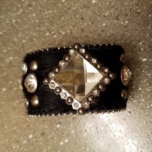 Black Leather Bracelet ith Silver and Diamond